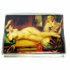 LARGE ENAMEL EROTIC GEORGIAN STYLE BEAUTY PILL BOX 925 SOLID STERLING SILVER