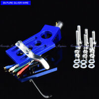 New 20/lot pure Silver wire CNC machined straight tonearm Angled BLUE headshell