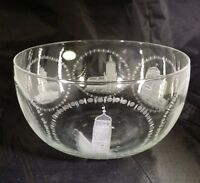 RARE Vintage MOOSBAUER CRYSTAL CUT GLASS BOWL GERMANY CASTLES TOWERS BUILDINGS