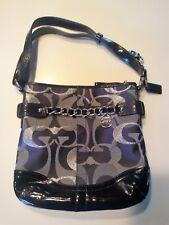 Coach Purse Duffle Handbag Authentic Navy Blue w/Silver Chain Accent