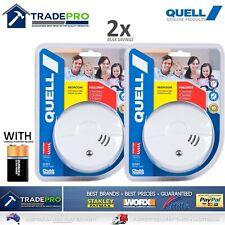 2x Smoke Alarm Fire Detector Quell® Photoelectric PRO Quality Bonus 9V Batteries