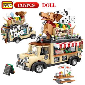 LOZ 1317pcs Mini Bricks City Hot Dog Cart Model Building Blocks Vehicle Toy Set