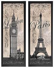 Eiffel Tower & Big Ben  International Style Fashion; Two framed 6x18in Prints
