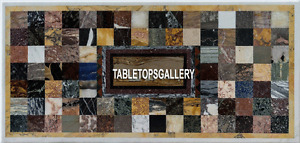 4'x2' White Marble Dining Table Top Multi Mosaic Cubes Inlay Kitchen Decor H3934