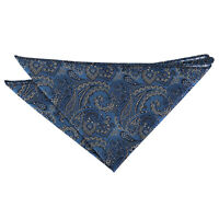 Blue & Silver Hanky Handkerchief Woven Floral Royal Paisley Accessory by DQT