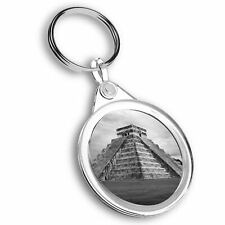 Keyring Circle - BW - Chichen Itza Temple Maya Mexico  #41553