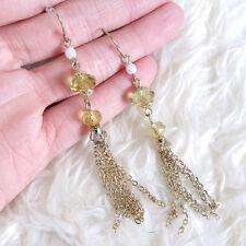 Womens Ladies Fashion Yellow Clear Bead Chains Fringe Tassles Drop Hook Earrings