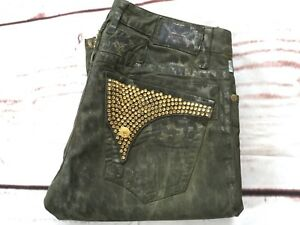 👏ROBIN'S JEAN Men's Long Flap Gold Swarovski Pocket Safari Green Jeans 30👌