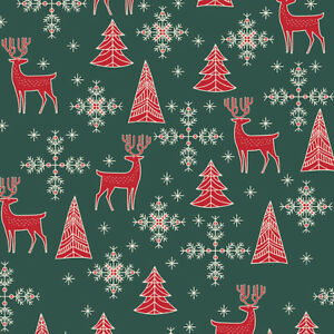 Christmas Fabric Red Reindeer Stags on Green Xmas Craft Fabric Material Metre