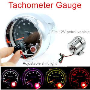 Car Tachometer Gauge 0-8000 RPM For 4/6/8 Cylinder Engine 12V Petrol Vehicle