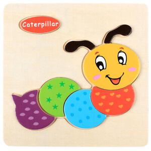 Wooden Puzzle Educational Developmental Training Animals Jigsaw Toy Baby Kids