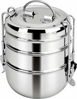 Stainless Steel Lunch Box 3 Tier Indian Tiffin Round Food Container Set