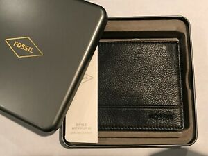 Fossil Brand RFID Brooks Bi-fold Black Leather Wallet Christmas Gift Idea $58