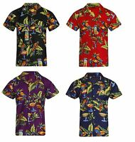 LOUD MENS ALOHA HAWAIIAN SHIRT HAWAII HOLIDAY BEACH STAG PARROT BIRD BBQ BEER UK