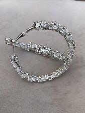 Silver Diamond Cut Crystal Twisted Hoop Earrings Large