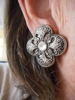 Authentic Vintage-1980's Antiqued Silver & Rhinestone Pierced Earrings