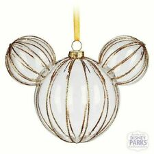 Disney Mickey Mouse Icon Deluxe Golden Rib Large Glass Christmas Ornament NEW