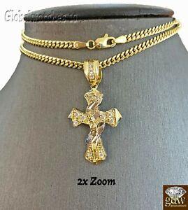 10k Gold Men Cross  Miami Cuban Chain 20 22 24 26 Inch Real