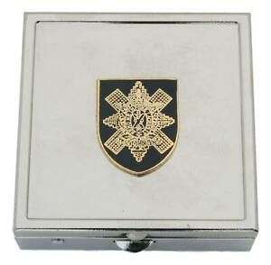 Black Watch Square Pill Trinket Box Chrome with Mirror Gift ME31