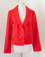 Tulle Orange Wool Blend Blazer Jacket Size M Scallop Lapel Anthropologie