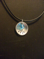 Handmade Personalized Name Hand Stamped Necklace Aluminum w/ Crystal Birthstone