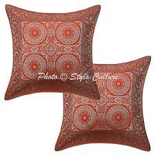 Indian Pillowcase Floral Brocade Home Decorative Cotton Orange Cushion Covers