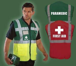 Hi Vis Executive Medical Vest FIRST AID PARAMEDIC AMBULANCE DOCTOR Waistcoat