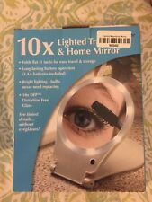 Nib 10x Lighted Travel & Home Lighted Make-Up Mirror Folds Flat