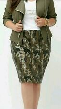 Lane Bryant Women's Plus Skirt Camo Sequin Lined Pencil Snake Size26 New $128