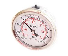 Compound Pressure Vacuum Gauge Glycerine Filled 63mm Back -1+2 Bar 30*Hg+30 PSI