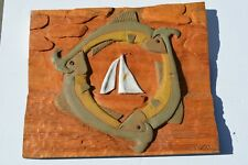 FANTASTIC HAND CARVED FISH, SAIL BOAT, BOW TIE WOOD SCULPTURE  BY MARVIN BELOFF