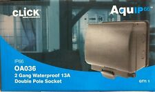 IP66 LOCKABLE  / WATERPROOF 2 GANG TWIN DOUBLE OUTSIDE GARDEN SOCKET OA036AG