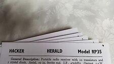 "HACKER ""HERALD"" RP35 RTVS MANUAL."