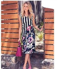 KALEIDOSCOPE STRIPE and FLORAL SUMMER SHIFT DRESS PARTY OCCASION SIZE 16 RRP£35