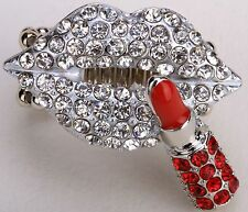 Lips w/ Lipstick Stretch Ring Silver Crystal Fashion Valentine's Day Gift D50