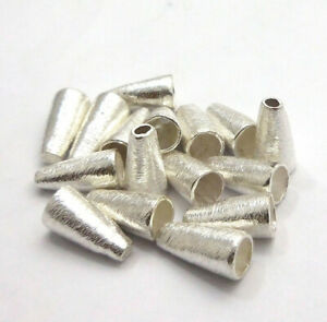 14 PCS 14X9MM BRUSHED CONE BEAD CAP STERLING SILVER PLATED 148 SBN-84