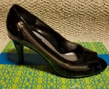 Hot In Hollywood High Heel Moto Zip Pumps Shoes Size 8M Black Patent 292695 NIB