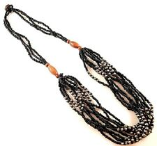 1 Multi Strand Black & Silver Beaded Fashion Necklace - # B96