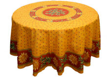 """Le Cluny 70"""" Round COATED Tablecloth - Sunflower & Olives Red"""