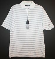 Greg Norman Mens White Multi-Color Striped Cotton Polo Golf Shirt NWT $69 Size S