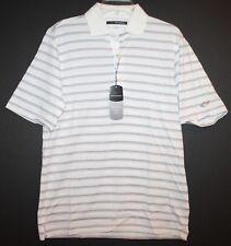 Greg Norman Mens White Multi-Color Striped Cotton Polo Golf Shirt NWT $69 Size S