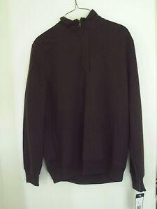 John Henry Mens 1/4 zip flat back rib knit top color dark chocolate size S