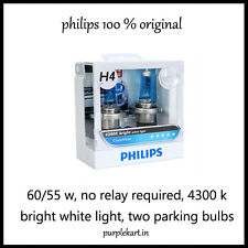 Philips Crystal Vision 4300K Headlight Bulbs H4 ( Set of 2 Pcs.) bright white