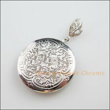 1Pc Dull Silver Plated Round Picture Locket Frame Charms Pendants 32mm