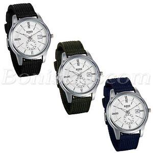 Men's Business Casual Roman Numberals Nylon Strap Date Quartz Dress Wrist Watch