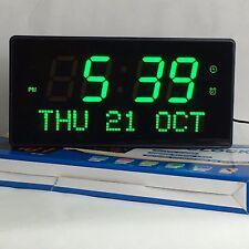 Multi LED Digital Reloj de pared con indicador fecha alarma GROSS CLARO EN VERDE