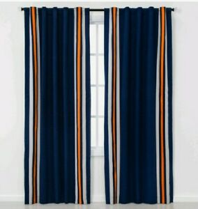 """Set Of Two Curtains Panels Printed Stripe Blackout 63""""L×42""""W New"""