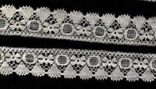 """Antique Vintage 4y x 7/8"""" Off-white Border Lace, Trim, Edging, Scalloped Edges"""