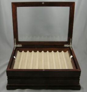 Levenger Wood w/Glass Hinged Lid 20-Pen Display/Storage Case/Chest