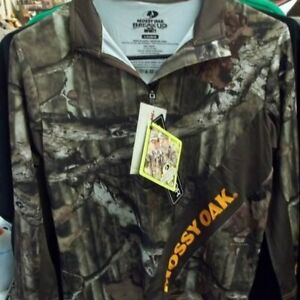 Mossy Oak Break Up Infinity Scent Factor Hunting Boys Pullover Size L 10-12 New